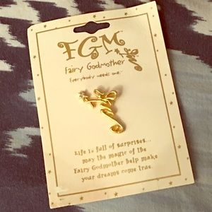 Jewelry - Fairy Godmother pin in gold tone with crystal wand